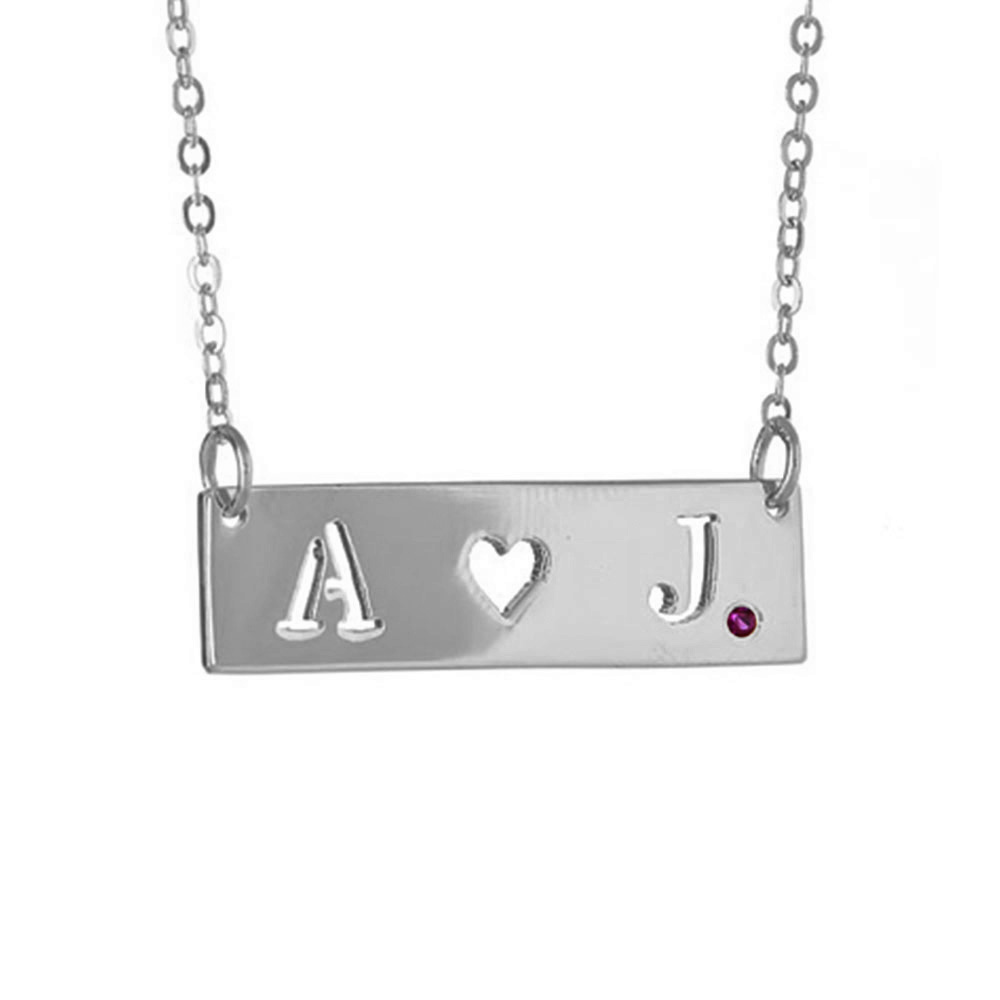 Maya j jewelry silver small initials heart cut out w ruby pendant ms500hr small initials heart cut out with ruby on chain pendant necklace silver audiocablefo