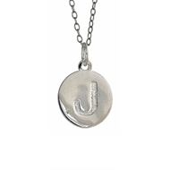 MS5045 Stamped Initial Disc with Chain Pendant Necklace Silver