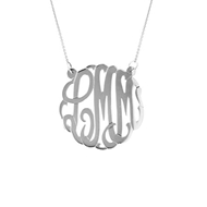 "MG833 Large Monogram with Chain (1 1/4"") 14k Pendant Necklace Silver"