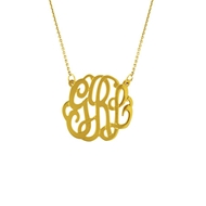 "MG834 Medium Monogram with Chain (1"") 14k Pendant Necklace Gold"