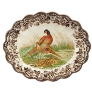 Pheasant Oval Fluted Dish from Woodland Collection