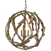 Currey & Company Lighting Driftwood Orb Chandelier