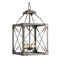Currey Light Fixtures - 9139 Salvage Lantern- Wrought Iron Chandeliers