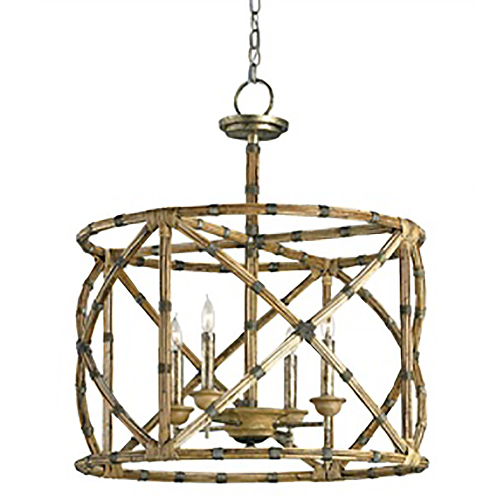 Currey Light Fixtures - 9694 Palm Beach Lantern - Wrought Iron/Wood/Arurog Chandeliers