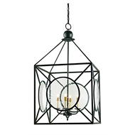 Currey Light Fixtures - 9748 Beckmore Lantern - Wrought Iron/Glass Chandeliers