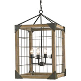 Currey Light Fixtures - 9083 Eufaula Lantern - Wood & Iron Lantern