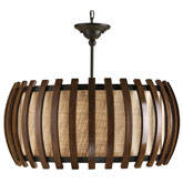 Currey Light Fixtures - 9096 Dado Pendant - Wood & Iron Pendant