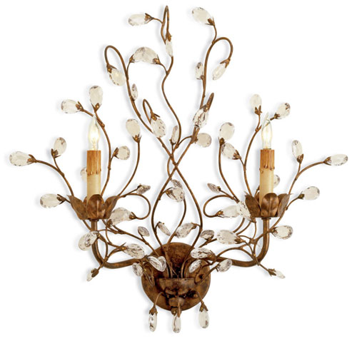 Currey Light Fixtures - 5882 Crystal Bud Wall Sconce - Iron & Crystal Wall Sconce